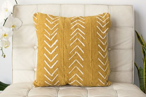 Yellow Mudcloth Pillow