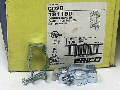 """100 NIB ERICO CADDY CD2B 181150 CONDUIT HANGER W// BOLT FOR 1/"""" EMT OR RIGID"""