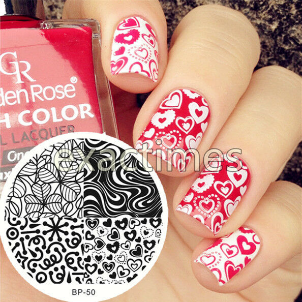 Nail Art Stamping Template Born Pretty Heart & Leave Texture Image ...