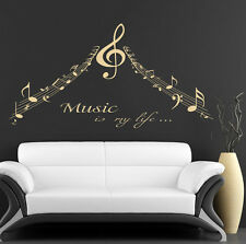 Wall Decals Quote MUSIC Decal Treble Clef Notes Sticker Home Studio Decor DF64