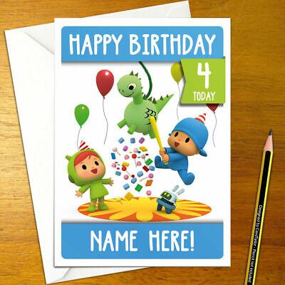 POCOYO Personalised Birthday Card A5 cartoon kids blue cute