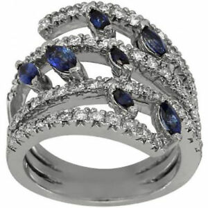 901039f89ab1f Details about Blue Sapphire Marqiuse On Multi Row Size Able Modern Diamond  Ring 14K