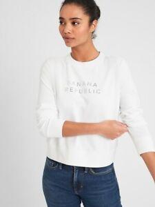 BNEW Banana Republic Logo Sweatshirt, White, XSmall