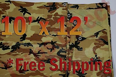 10' x 12' Camo Brown Beige Tarp Hunting Firewood Waterproof Camping Woodpile ATV