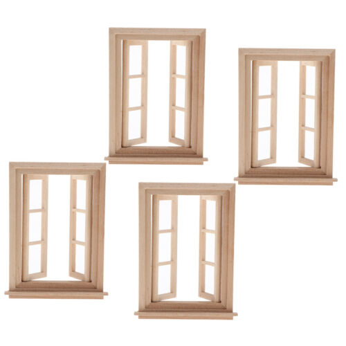 4pcs Mini Double Working Window Wood 1//12 Dollhouse Furniture Accessories