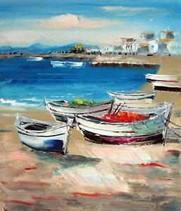 Paysage Marin Bateaux Tableau Peinture Huile Sur Toile Ebay