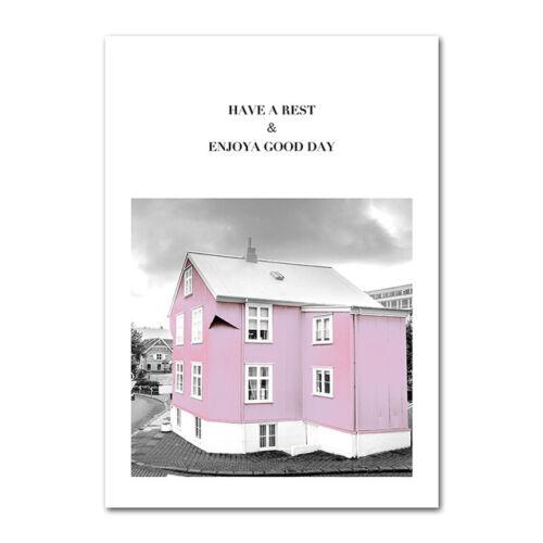 Pink Rose Paris Girls Landscape Home Decor Wall Art Flower Posters Canvas Prints