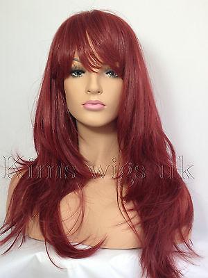 FULL WOMENS LADIES FASHION HAIR WIG LONG VIBRANT RED HEAT RESIST KIMSWIGS UK