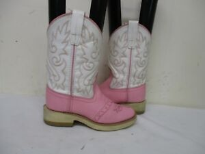 3e1ff9fc7d9 Details about OLD WEST Pink White Leather Square Toe Cowboy Boots Youth  Size 13 Style 1701