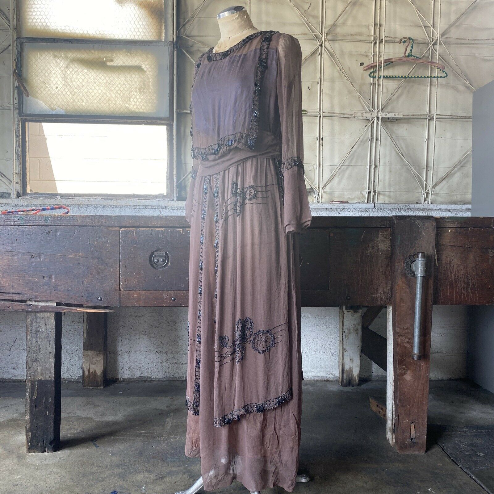 Antique 1910s Brown Silk Chiffon Tiered Beaded Dr… - image 4