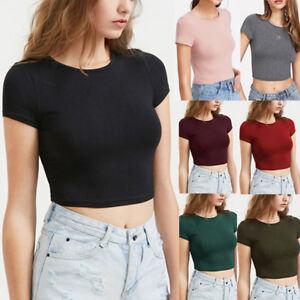 Women-Girls-Casual-O-Neck-Short-Sleeve-Blouse-T-Shirt-Tops-Short-Slim-Mini-Tee