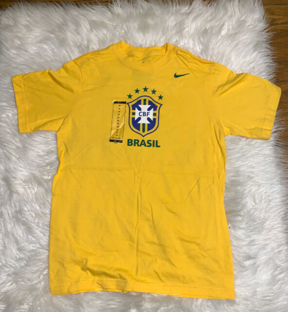 Nike Brasil Brazil CBF Soccer Futbol Yellow T Shirt Mens XL