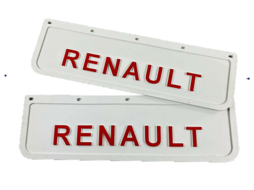 Mud Flaps Truck Lorry RENAULT 18x60cm Embossed White with Red Logo