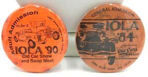 Vintage Iola Old Car Show Set of 2 Pins 1984 & 1990