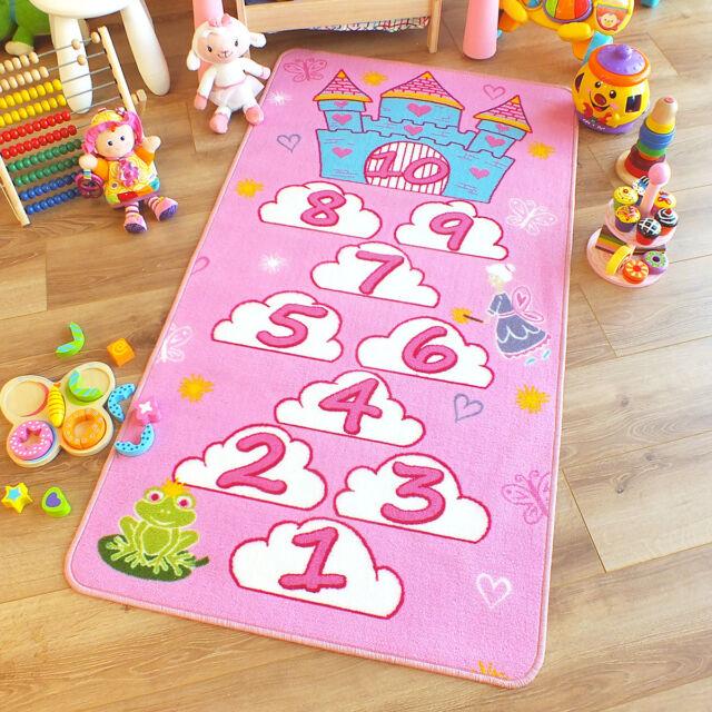 SUPERB Kids Childs Rug Princess Castle Hopscotch Pink Play