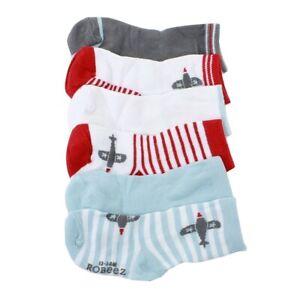 Robeez-Mini-Infant-Boy-039-s-6-Pairs-Aviator-Games-Red-Skid-Proof-Socks-Sz-6-12-M