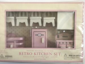 Details about Pottery Barn Kids Retro Pink Dollhouse Wooden Kitchen Stove  Oven Sink Furniture