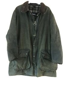 Border-Barbour-Green-Wax-Jacket-Well-Used-Large