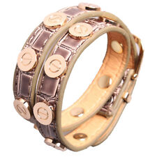 Croc Faux Leather Bracelet Gold Plated Nail Screw Bangle Light brown