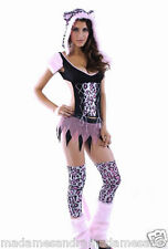 SEXY PINK LEOPARD COSTUME TIGER CAT OUTFIT Animal Fancy Dress Lion Kitty Cheetah
