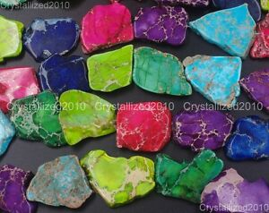 Natural-Mixed-Sea-Sediment-Jasper-Gemstones-25-40mm-Freeformed-Sliced-Beads-16-039-039