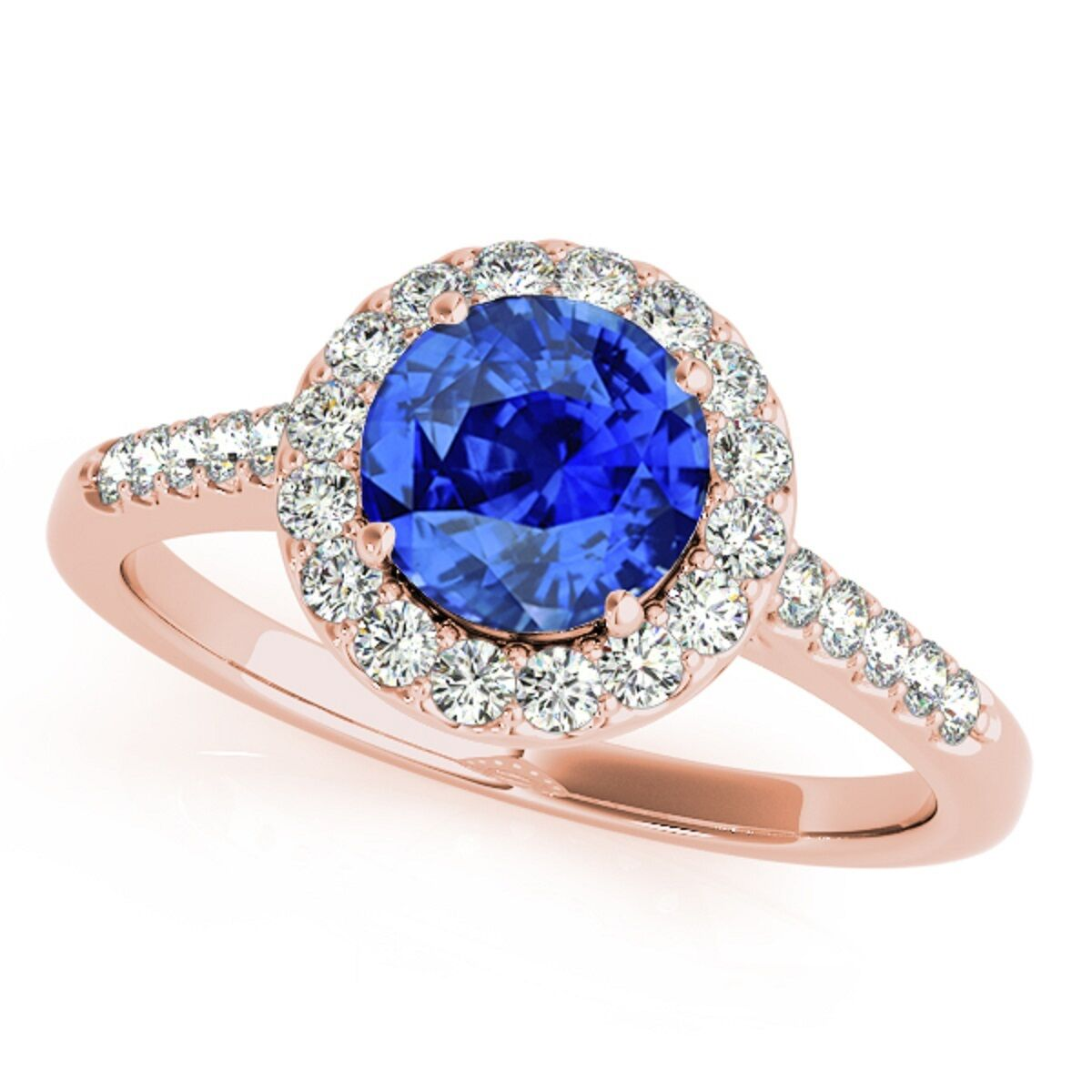 1.20 Ct. Halo Tanzanite And Diamond Engagement  Ring In 14k  Solid gold