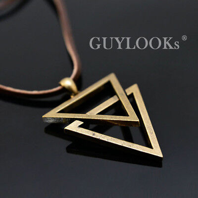 Vintage Mens Double Metal Triangle Pendant Leather Lace
