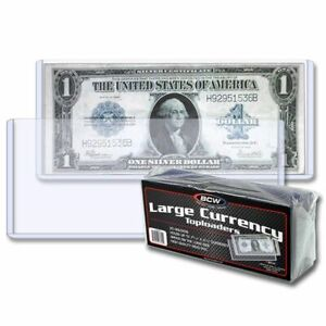 25-BCW-Topload-Banknote-Sleeves-Holders-Large-Size-US-Currency-Rigid-SAFE-LONG