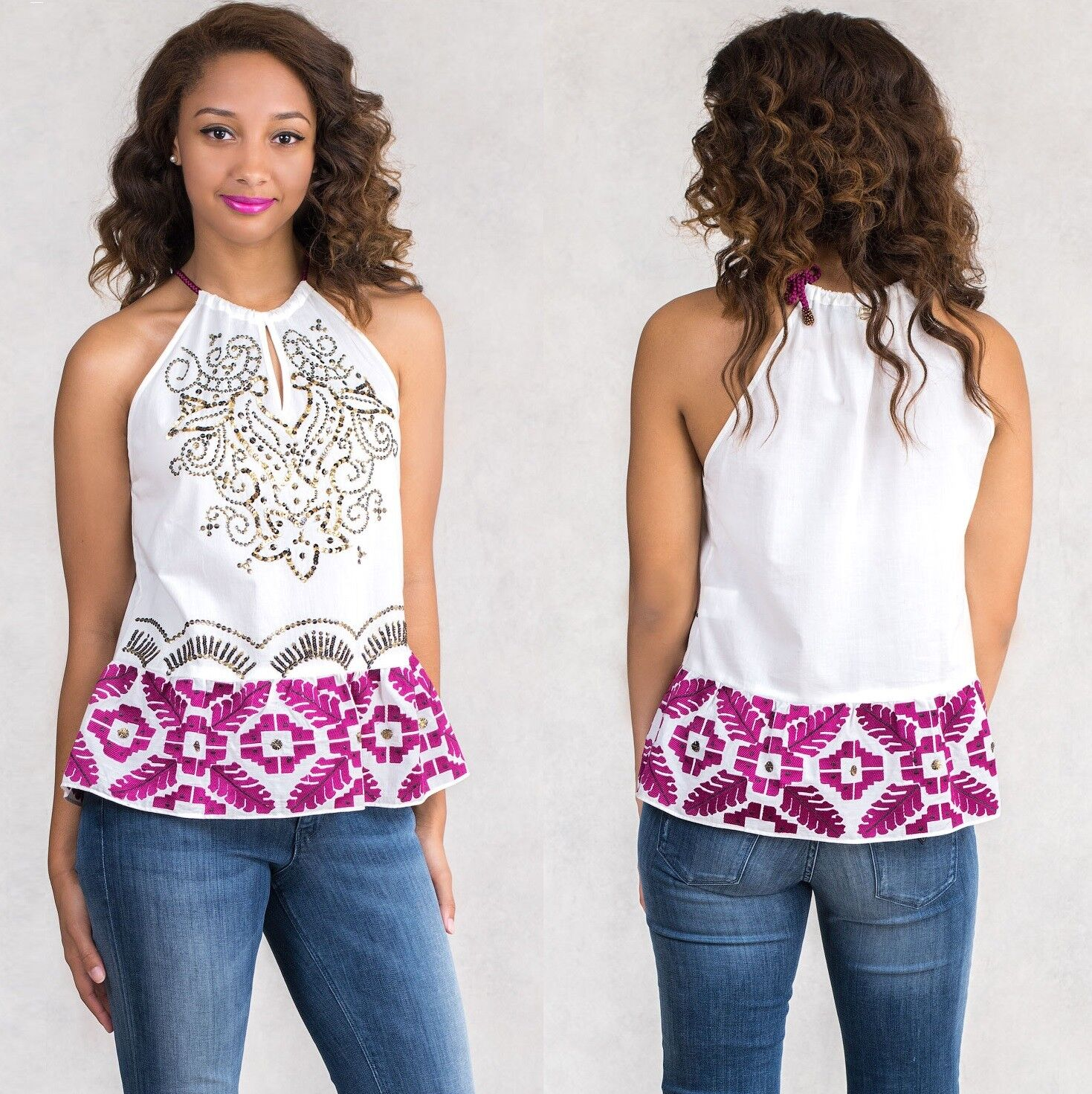 NWT  234 SISTE'S Italian Sequin Embroidery Women Cotton Top Blouse Size S 8 10