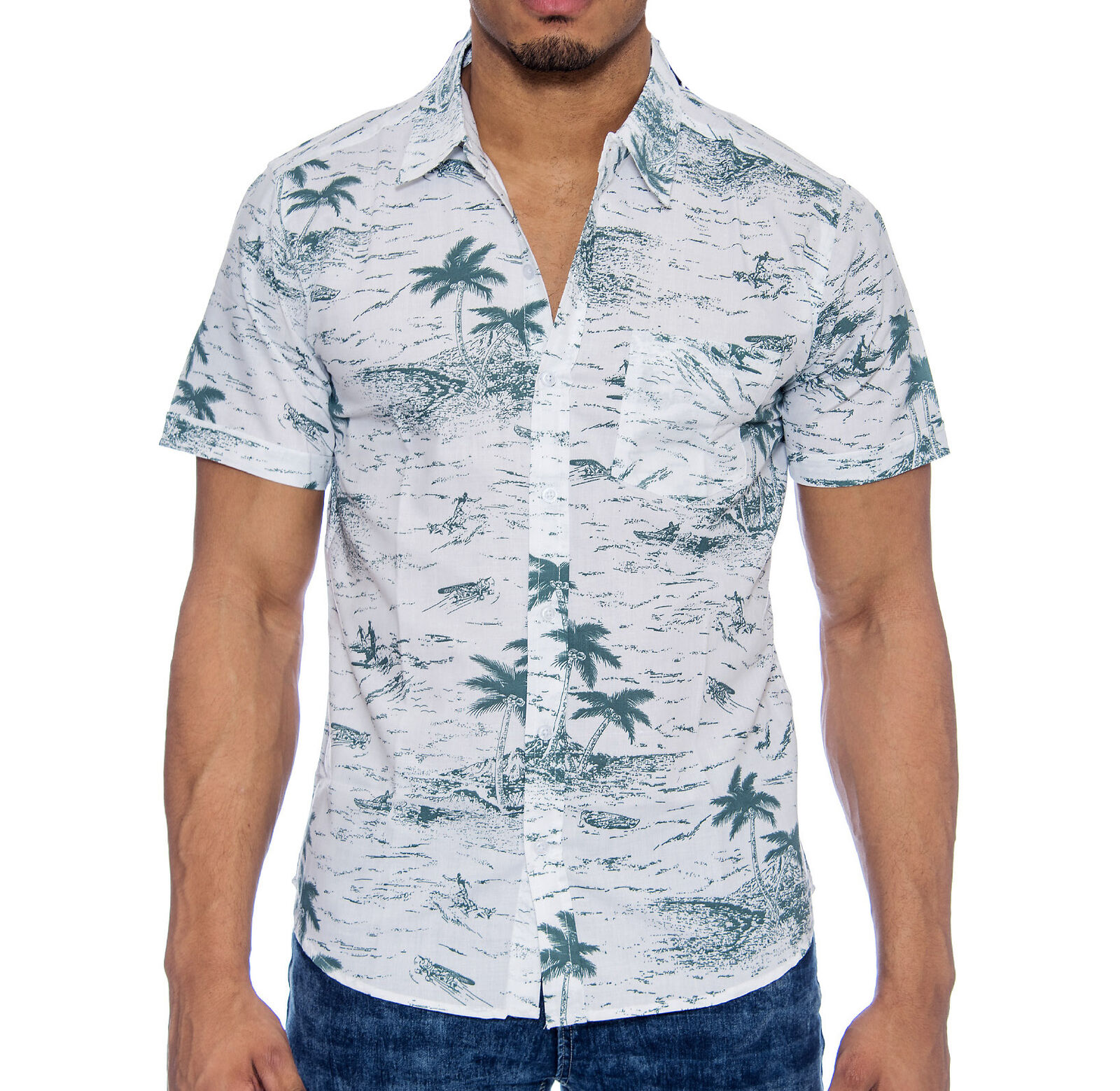 MEN/'S MOSSIMO BUTTON DOWN SHIRT MED  SHORT SLEEVE SLIM FIT TROPIC PALM TREE NWOT