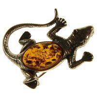 Baltic Amber Sterling Silver 925 Ladies Lizard Brooch Pin Jewellery Jewelry Gift