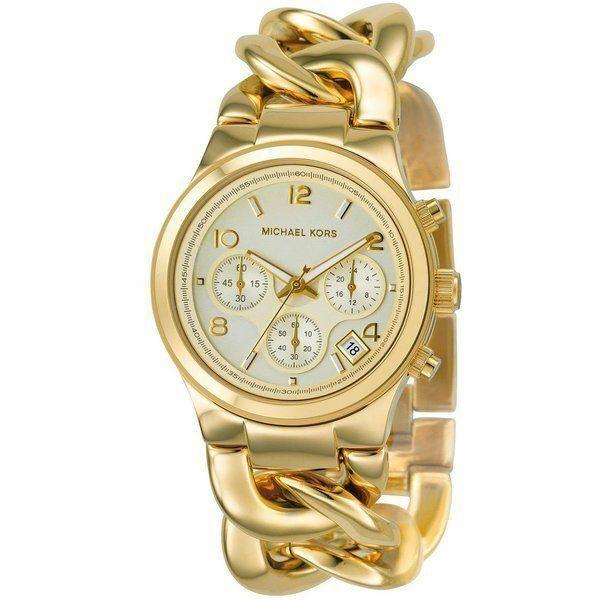Michael Kors Runway Twist Chronograph Gold Tone Ladies Wrist Watch MK3131