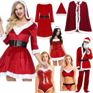 974bd4116 Image is loading Women-Mens-Santa-Claus-Christmas-Costume-Cosplay-Velvet-