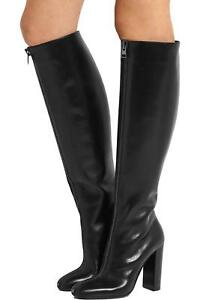 Knight-Ladies-Round-Toe-Knee-High-Boots-Black-Chunky-Heel-Shoes-Front-Zipper