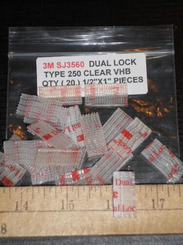 """3M SJ3560 CLEAR DUAL LOCK VHB TYPE 250 1/"""" X 1//2/""""  20 PCS  RECLOSABLE FREE SHIP"""
