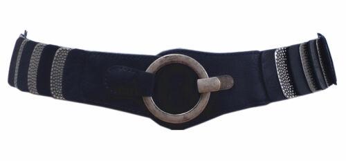 Damen Stretchgürtel Blau Leder Metall Rillen Taillengürtel Hüftgürtel SA-796