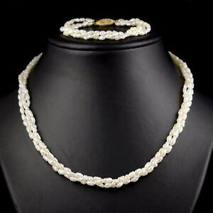 d8eac7b3233cd Details about Set of 14K Yellow Gold Seed Pearl Multi-Strand Beaded  Necklace & 18.5