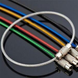 6Stk-Edelstahl-Draht-Schluesselbund-Kabel-Schluessel-Schluesselring-aus-Drahts-M2H6