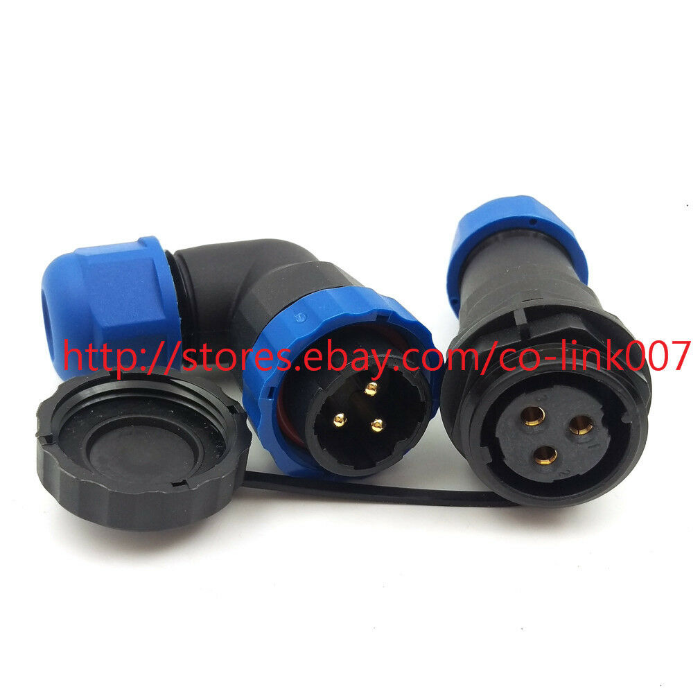 SD20 2pin Waterproof Connector 2pin, Panel Mount x 2set Circular IP68 LED Solar Panel Power Cable Plug Heavy Industrial Connector