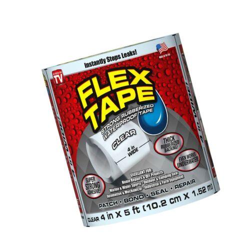 """4/"""" x 5/' Clear Flex Tape Rubberized Waterproof Tape"""