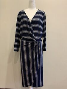 Autograph-size-18-navy-and-white-stripe-dress-New-with-tags
