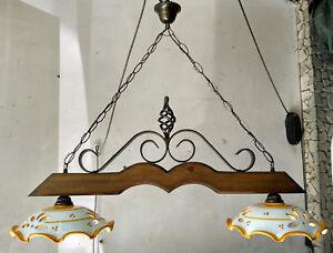 Lampadario Rustico Per Taverna : Bilanciere lampadario rustico ferro battuto ceramica e legno