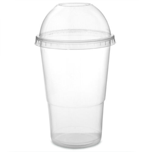 Sweet Pots Smoothie Milkshake Plastic recyclable Cups with Dome Lids