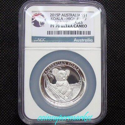RARE NGC ERROR LABEL 2018 P Australia HIGH RELIEF 1oz Silver Koala $1 Coin PF70