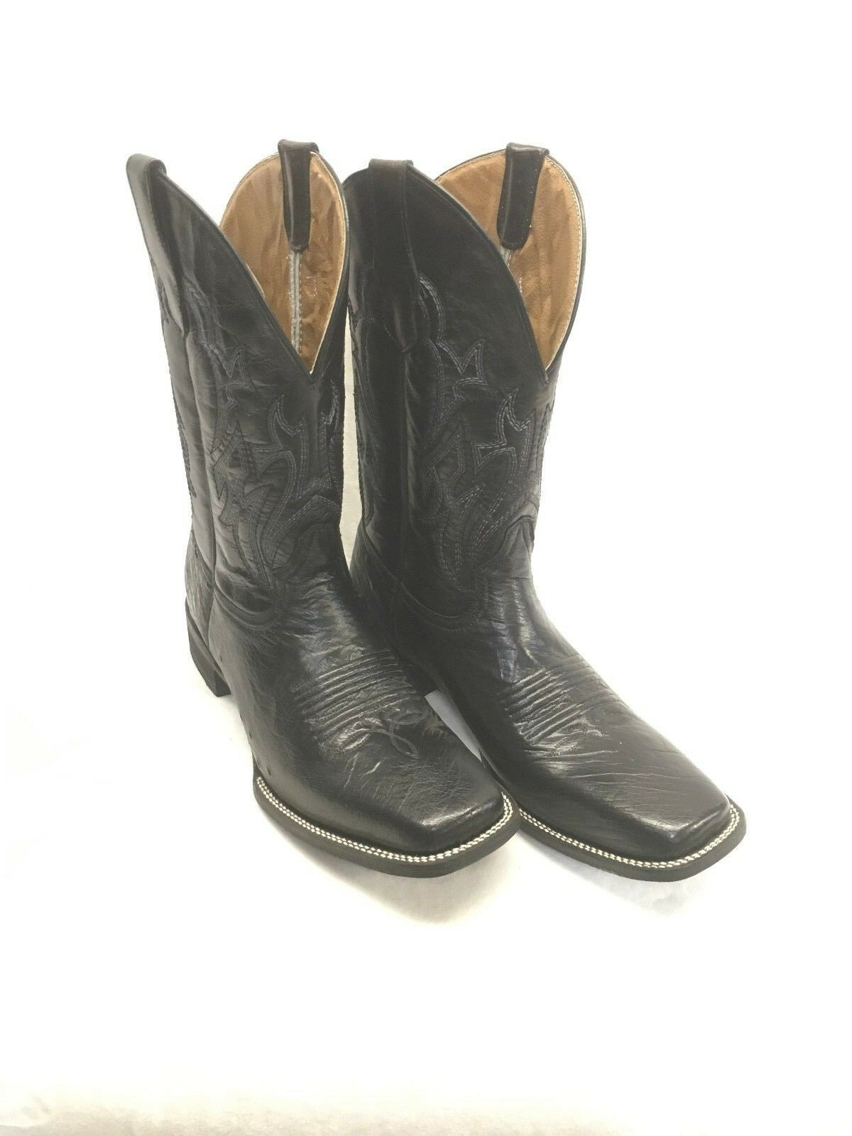 Men's Circle G Boots-Black Smooth Quill Ostrich Square Toe Style L5376