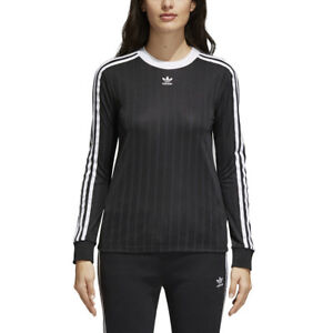 Details about NEW WOMEN S ADIDAS ORIGINALS 3-STRIPES LONG SLEEVE TEE   CE5596  BLACK 4f4af0417c