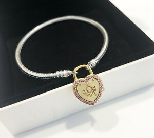 f0f364b54 Image is loading Genuine-Pandora-Bracelet-with-Lock-Your-Promise-Clasp-
