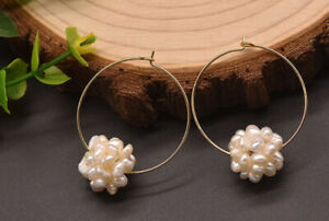 B15 Earrings Gold Plated Hoop Earrings With Ball From Freshwater Pearls