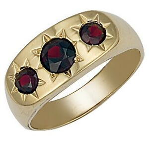 9ct-Yellow-Gold-Three-Stone-Garnet-Men-039-s-Ring-Size-Q-UK-Jewellers