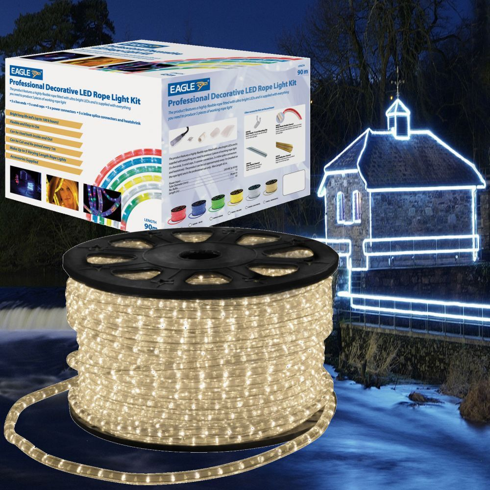 Eagle 90M LED Rope Light Roll Garden Decking Mood Outdoor Lights Kits Christmas